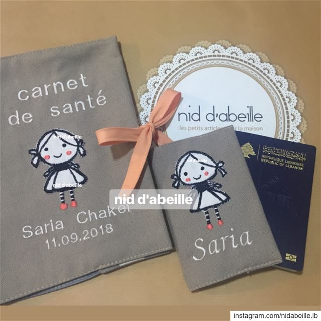 Mon Carnet de Santé ❤️Write it on fabric by nid d'abeille  cover  passport...