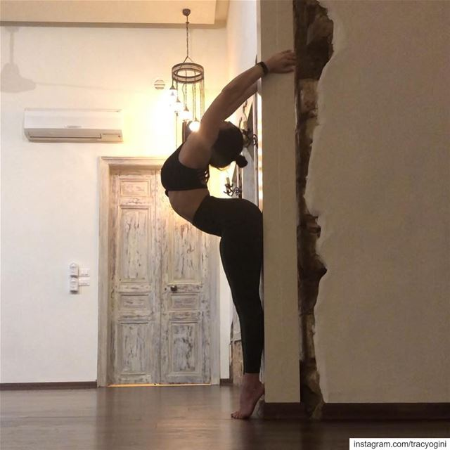 Loving this hollow back variation against the wall.Here's my classes for... (Sarvam Yoga)