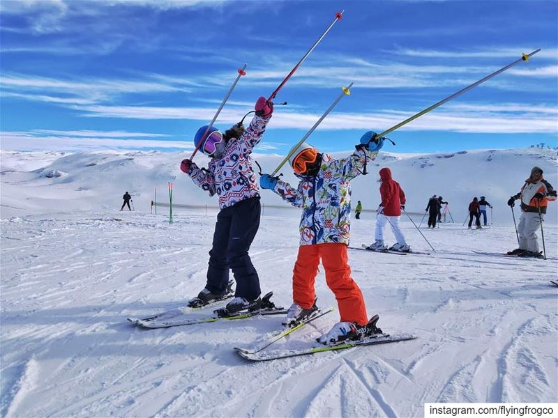 The coolest kids having a blast during their ski lessons!!........ (Mzaar Ski Resort Kfardebian)