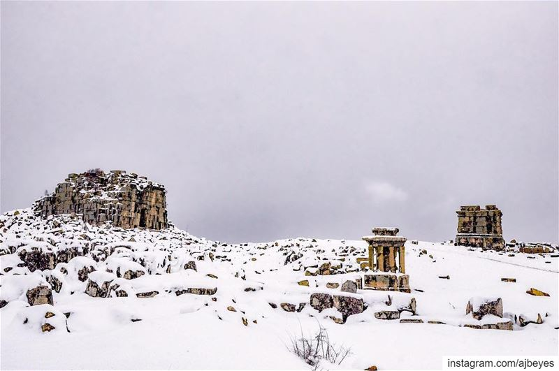 "When snow falls, nature listens. ""A.  Van Kleef"" lebanon  winter ... (Ruins Faqra Kfardebian)"