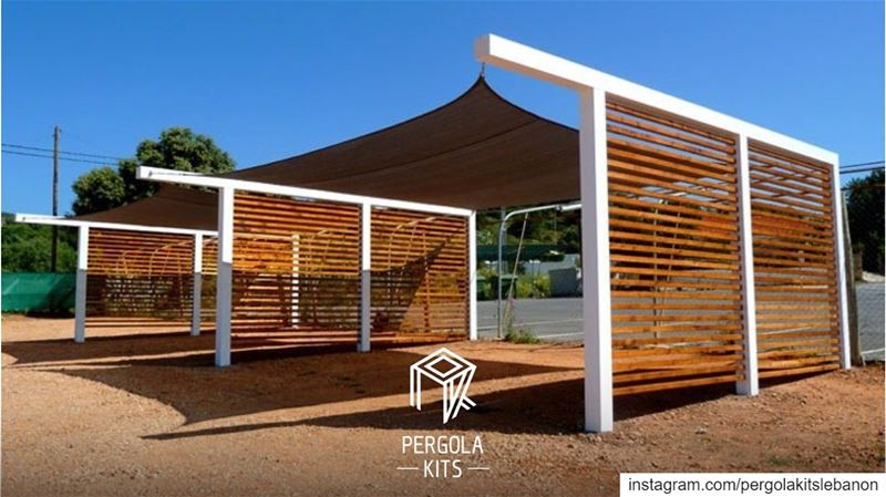 Park With Style! With Steel Structure, Louvers Wood & Fabric Roofing! ...