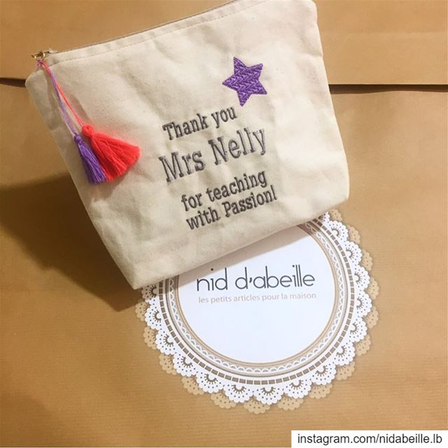 Teachers day 🎁 Write it on fabric by nid d'abeille  teacherstuff  pouches...