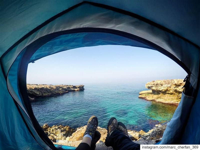 Happiness is Me & You, Waking up to a  SeaView 😎⛺ GoodMorning ... (Kfar Abida)