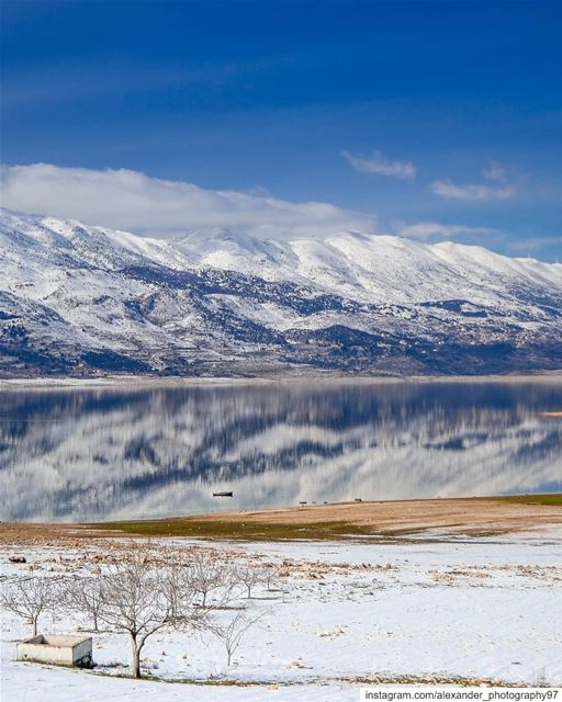 The calm after the storm ❄️🏔️ - Beautiful reflections on Lake Karouun,... (West Bekaa)