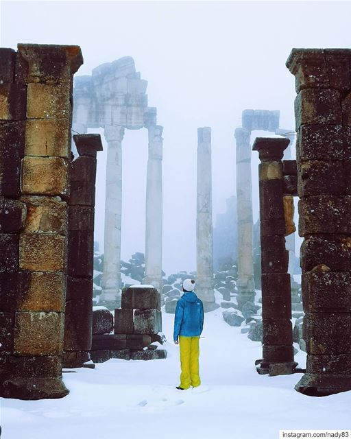 Roman dream 🏛.... lebanon  snow  ski  romantemple romanreigns ... (Fakra Kfarzebian Liban)