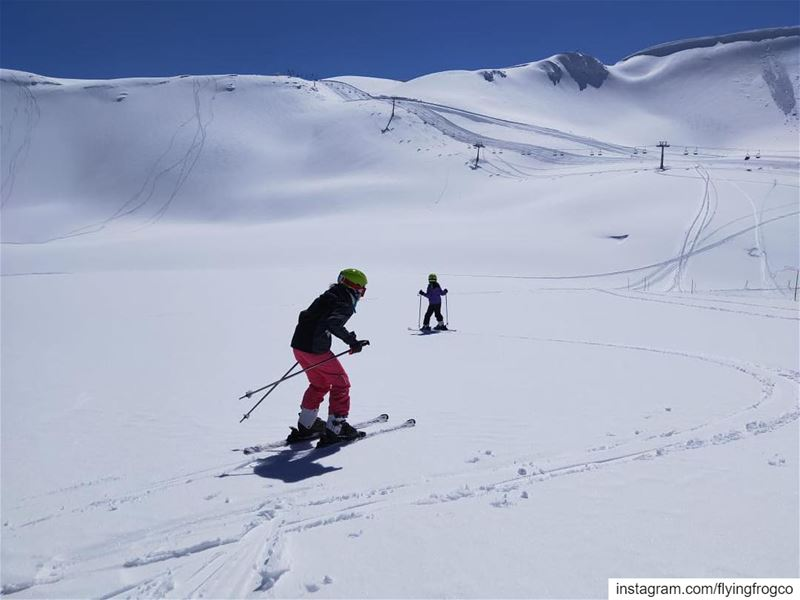 Finding untouched snow!!..... skiing  ski  snow  winter  mountains ... (Mzaar Ski Resort Kfardebian)