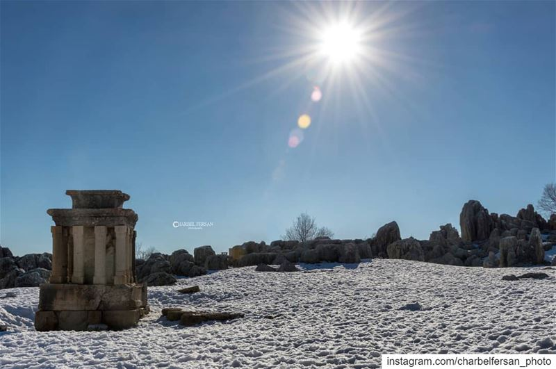 Faqra ruins under snow ❄www.charbelfersan.com - © All rights reserved... (Faqra Ruins)