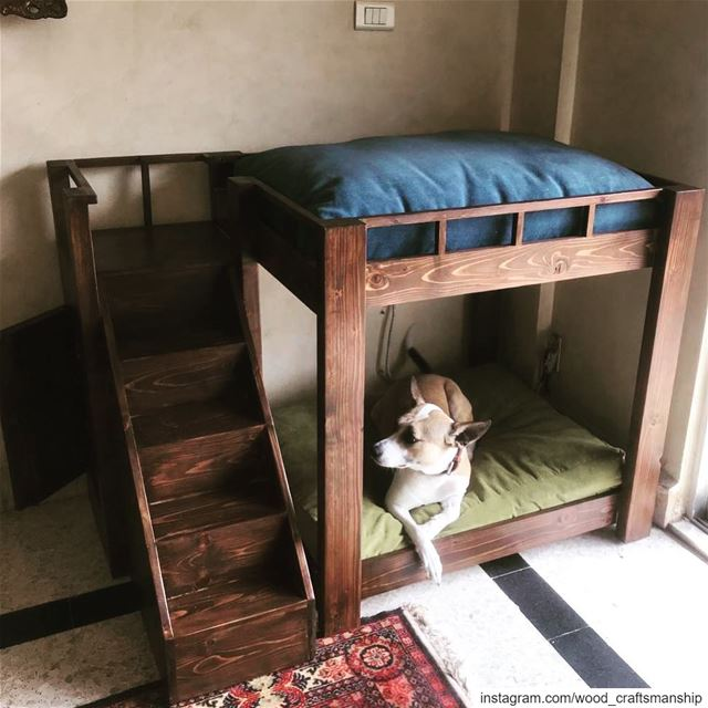 Double 🐶 bed with staircases ☺️  woodcraftsmanship  lebanoninapicture ...