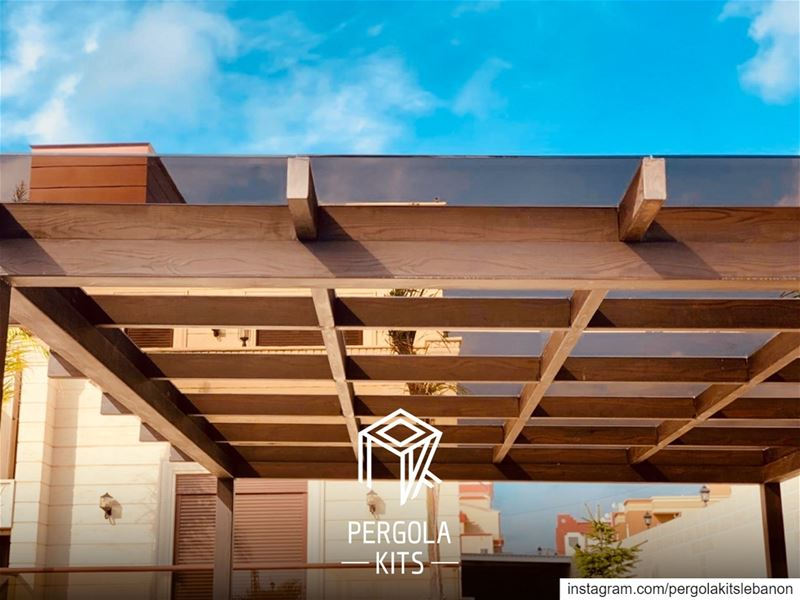 Metal Structure Pergola in Wood Texture with Glass Roofing! ... (South Governorate)