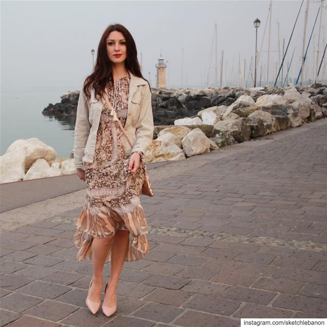 Flowy light dress in a subtle mix of prints @sketchlebanon ...
