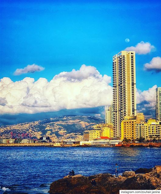 lebanon  beirut  sea  architecture  landscape  sunset  clouds  sky  blue ... (Beirut, Lebanon)