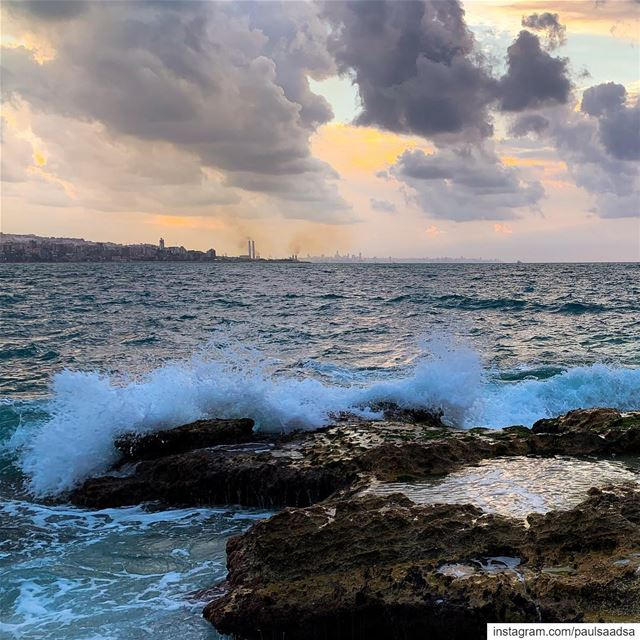 sea  beach  clouds  waves  sunset  lebanon  beirut ... (Kasrouane)