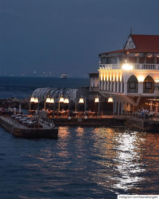 Beirut nights by the sea 💙💫________________________________________... (Beirut, Lebanon)