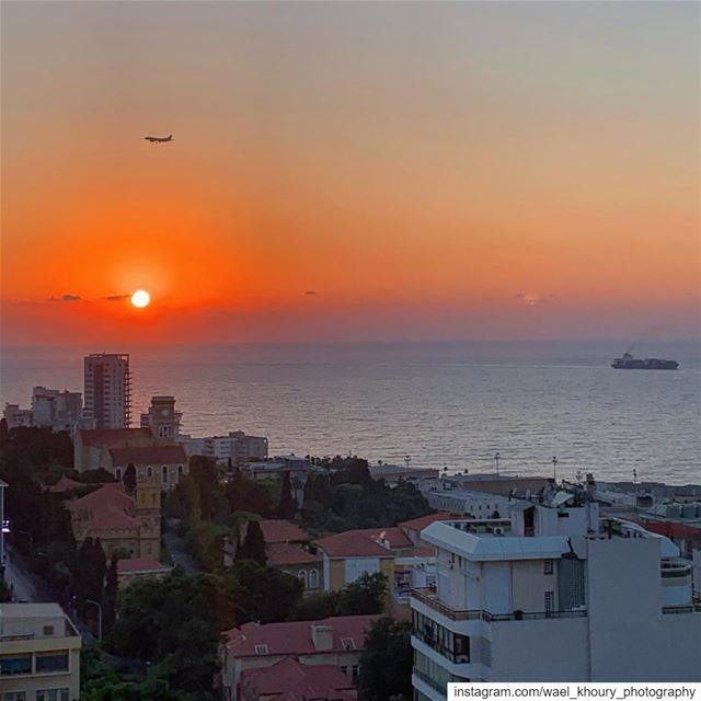 landscapephotography  sea  boat  plane  sunset  sky  orange  beautiful ... (Rotana Hotels Lebanon)