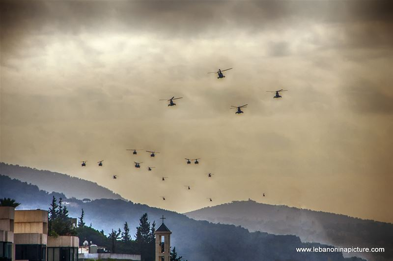 Leb Army Helicopters Fleet Flying over Mount Lebanon in Preparation for the Independence Day