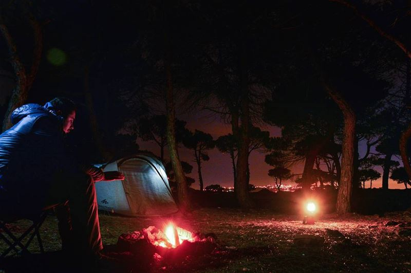🌳🌌⛺🔥.... campfire camping forest night bonfire fire tent camp... (Marj Biskinta, Mont-Liban, Lebanon)
