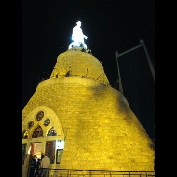 Our Lady of Lebanon shining at  night  virginmary  religion  christian ... (Lady Of Lebanon - Harissa)