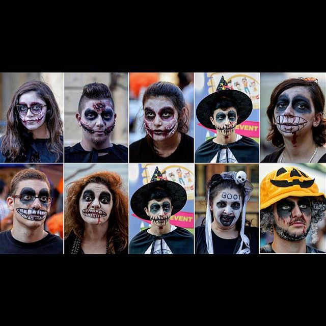 In this combination of 10 photos, Lebanese dressed in Halloween costumes...