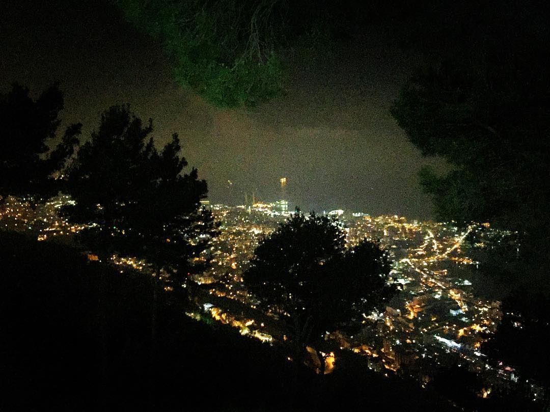 Nature Night View Dark Lights Black Trees Sea Bay Ocean Our Lady Of Lebanon
