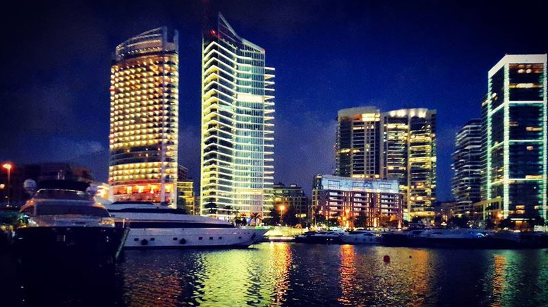 beirut night life city lights yachts skyscrapers watercolor waterfront... (Zaitunay Bay)