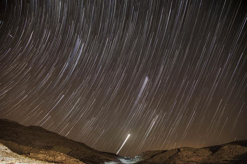 Star trails from the Tannourine summit rush  longexposure ... (Jered Tannourine)