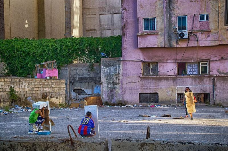 | playing in the street |  kids  playing  streetphotography  beirut ... (Beirut, Lebanon)