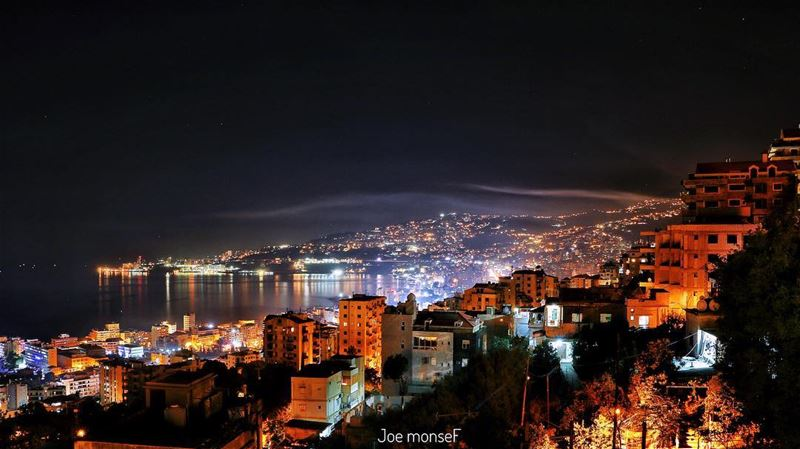 jounieh @livelovejounieh  keserwan  lebanon  night  light  sea  view ...