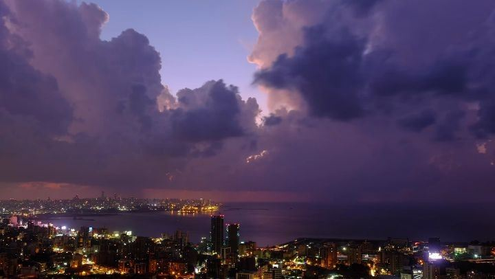 The first thunderstorm of fall 2017, brewing over Beirut at sunset. This... (Beirut, Lebanon)
