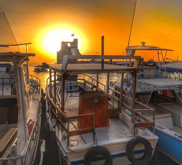 We find happiness when the sun sets especially in Byblos, our favorite... (Port Byblos)
