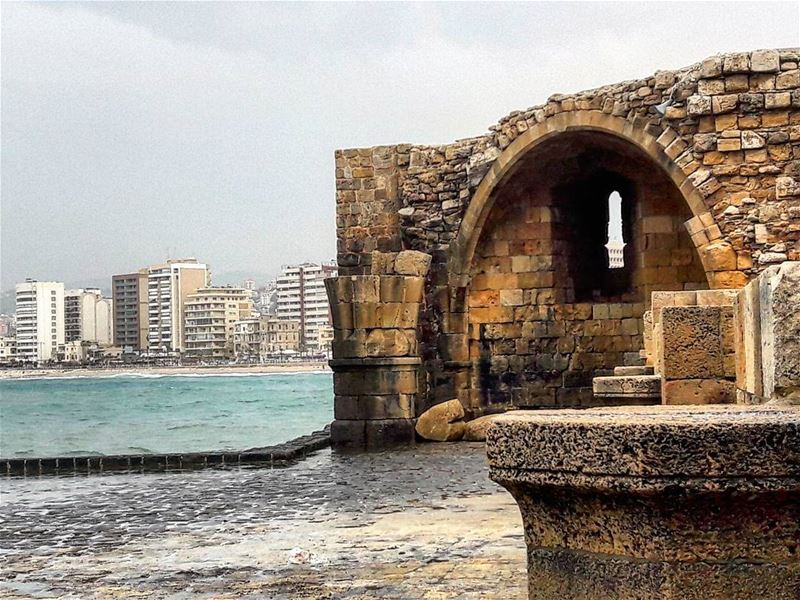 Saida ancient and new  saida  south  lebanon  castle  building  ancient ... (Saïda, Al Janub, Lebanon)