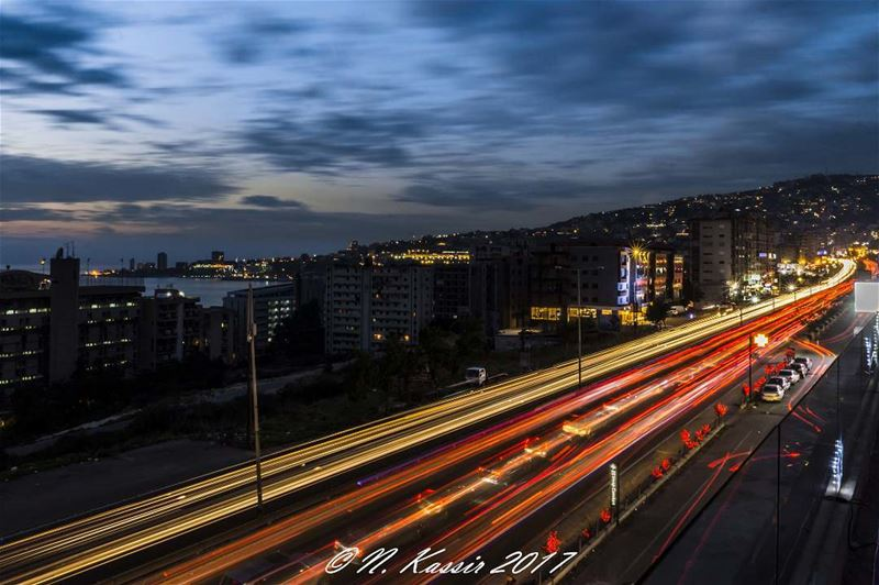 clouds  traffic  light  trails  cars  ngconassignment  Lebanon ... (Joünié)
