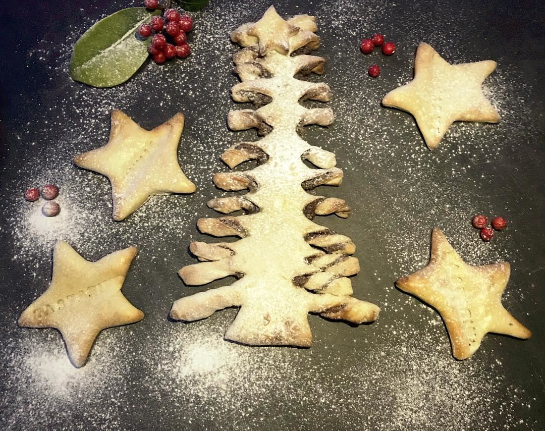 let it snow icing sugar on our christmas tree nutella pastry food