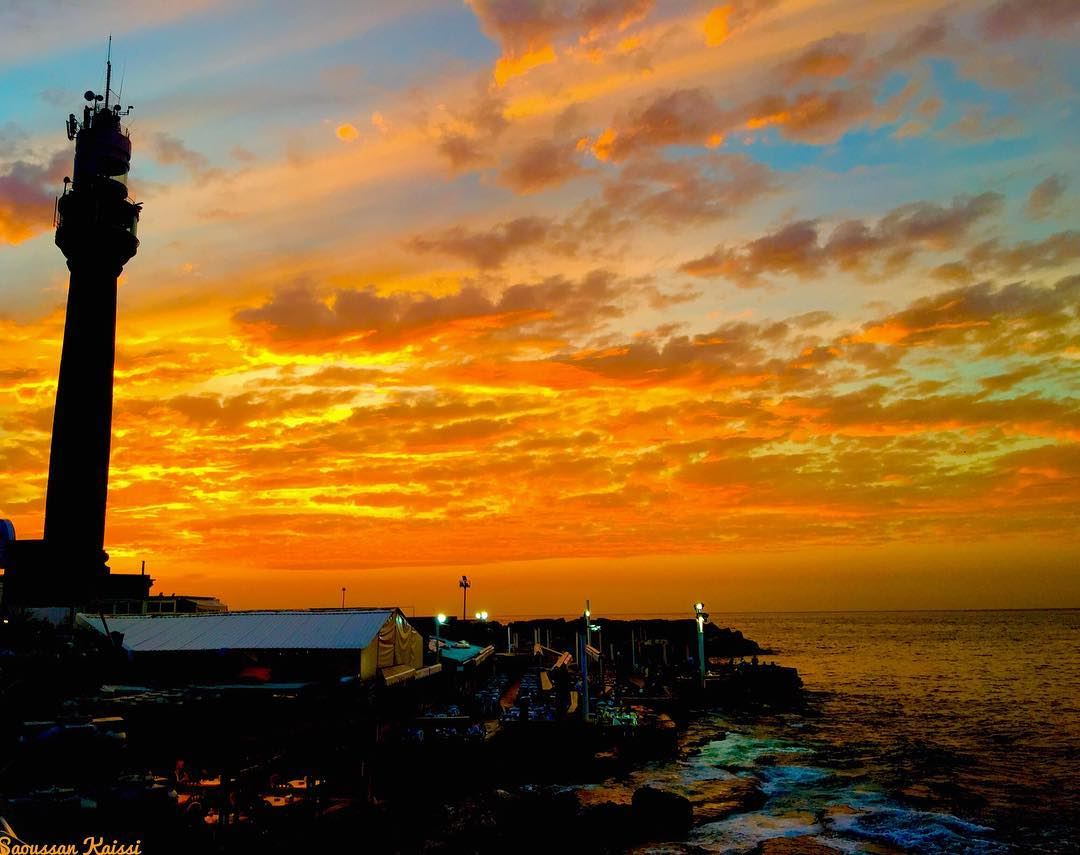 sunset  lighthouse  colors  beirut  lebanon  sea...