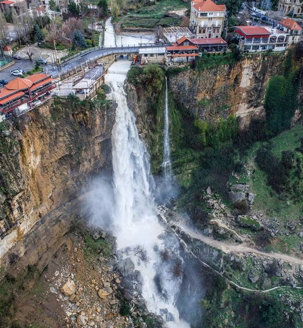 The Waterfall Is Back!! 😍...  jezzine  lebanon  dji  drones ... (Jezzine District)
