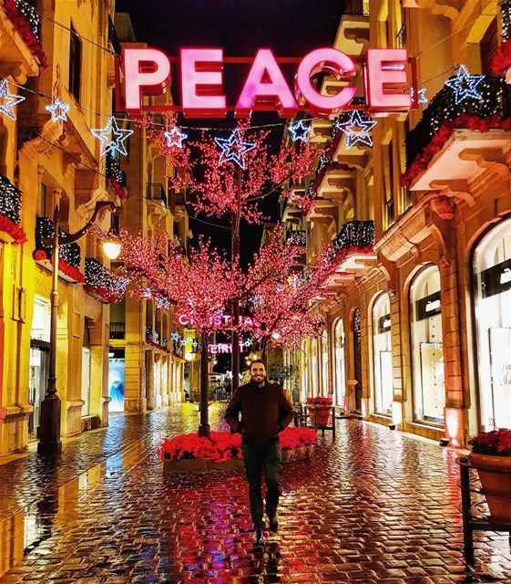 PEACE ☮----------- me  beirut  lebanon  lebanese  downtown  night ... (Downtown Beirut)