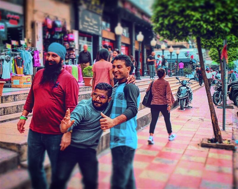 (📸street photography) ...cool🇮🇳 Indian dudes posing for a photo in... (Beirut, Lebanon)