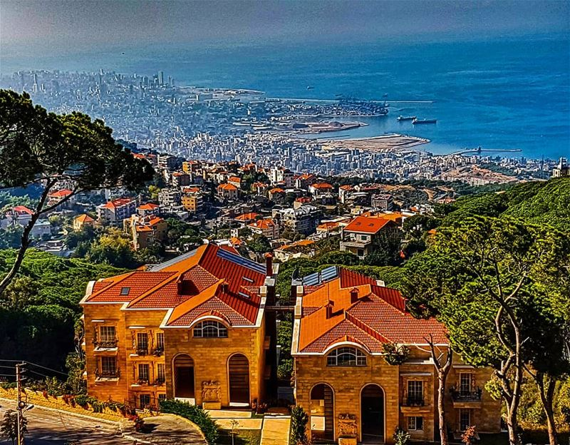 Beirut city and the village of Roumieh  beirutcity  beirut ... (Brummana)