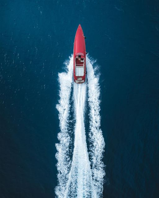 There's a red bullet out at sea 🚤Photo taken with @djiglobal Phantom 4... (Batroûn)