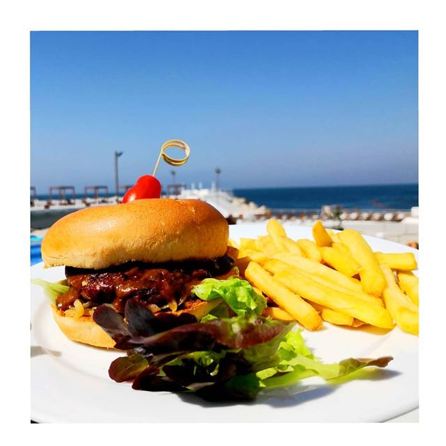 I always wonder... how can vegans survive without burgers?! 🙄🍔  Patty ... (Riviera Hotel & Beach Lounge Beirut)