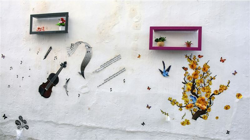 Wall Art on the Quaint Streets of Old Sour (Tyre) in South LebanonFor... (Tyre, Lebanon)