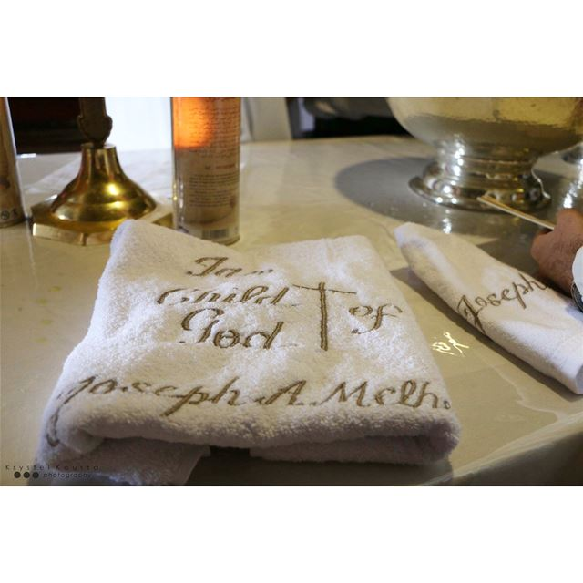 Customized Towel by @with_lotsoflove for Joseph's  Christening ✝️🙏🏻 ... (Mazar Saint Charbel-Annaya)
