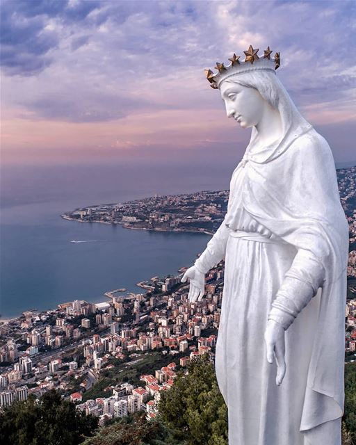 One of my all time favorite 💙...  ourladyoflebanon  lebanon  jounieh ... (The Lady of Lebanon - Harissa)