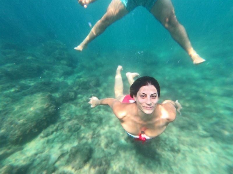 Amorini was doing some underwater moves and me...well... Jusy chilling and... (El Berbâra, Mont-Liban, Lebanon)