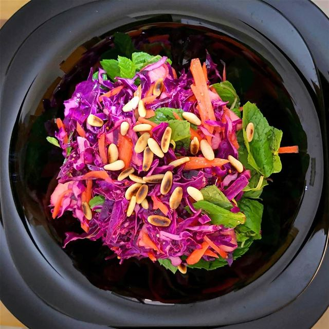 Red cabbage and carrot salad tossed with an incredible mix of mustard... (Beirut, Lebanon)