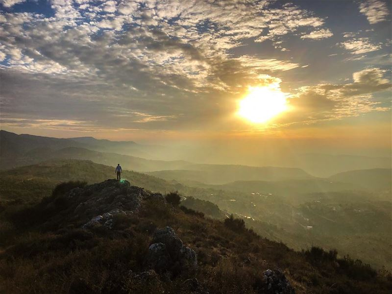Standing on the shoulders of giants.......... standing  sunset ... (Chouf)