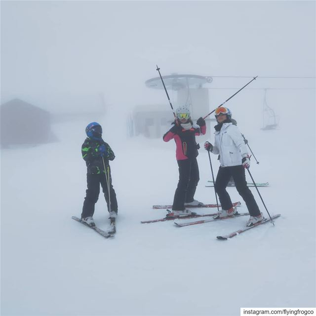 We skied with a big smile while others were indoors... smile ... (Mzaar Kfardebian)