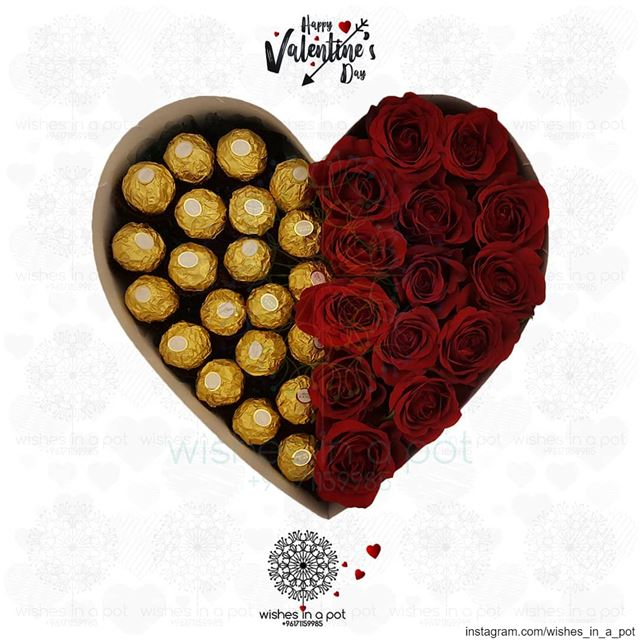 Half Half roses & chocolatePlace your  valentinesday order: +971 71159985...