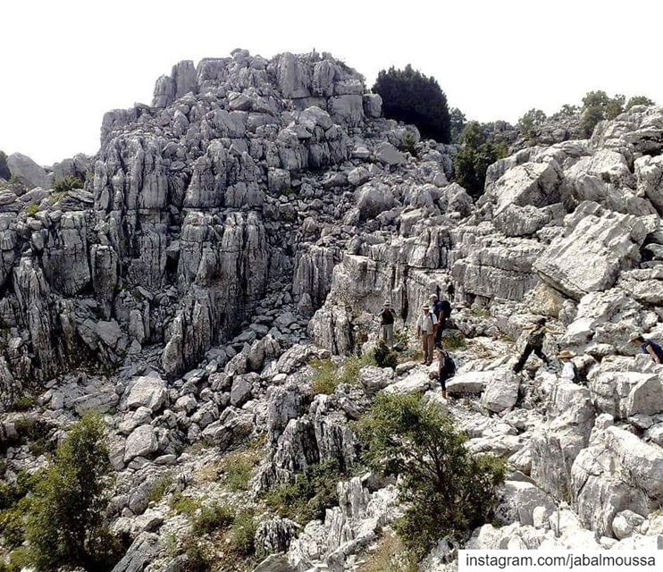 Hiking through a karstic landscape in  JabalMoussa. unescomab  unesco ... (Jabal Moussa Biosphere Reserve)