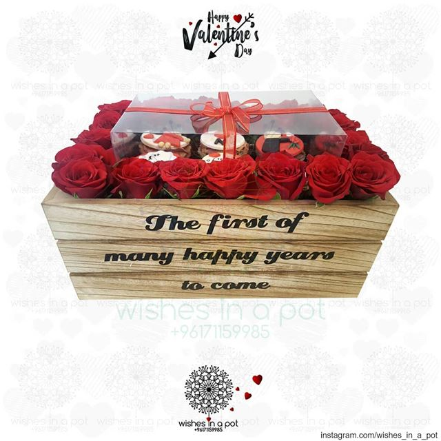 Cupcakes & roses anyone? Wish for your customized wooden box now : +961... (Beirut, Lebanon)