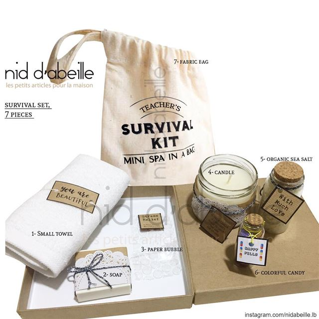 Survival kit bag 🎁 teachers day! Write it on fabric by nid d'abeille ...